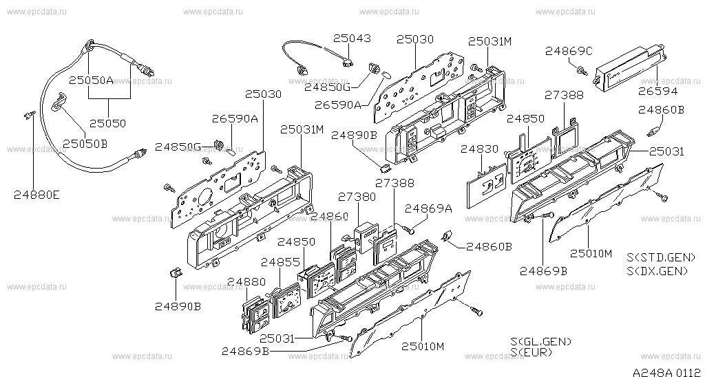 248 - INSTRUMENT METER & GAUGE for Bluebird 910 Nissan Bluebird - Auto partsNissan parts catalog