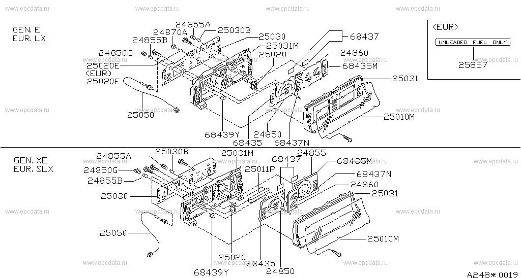 248 - INSTRUMENT METER & GAUGE for Vanette GC22 Nissan ... Nissan Vanette Wiring Diagram on