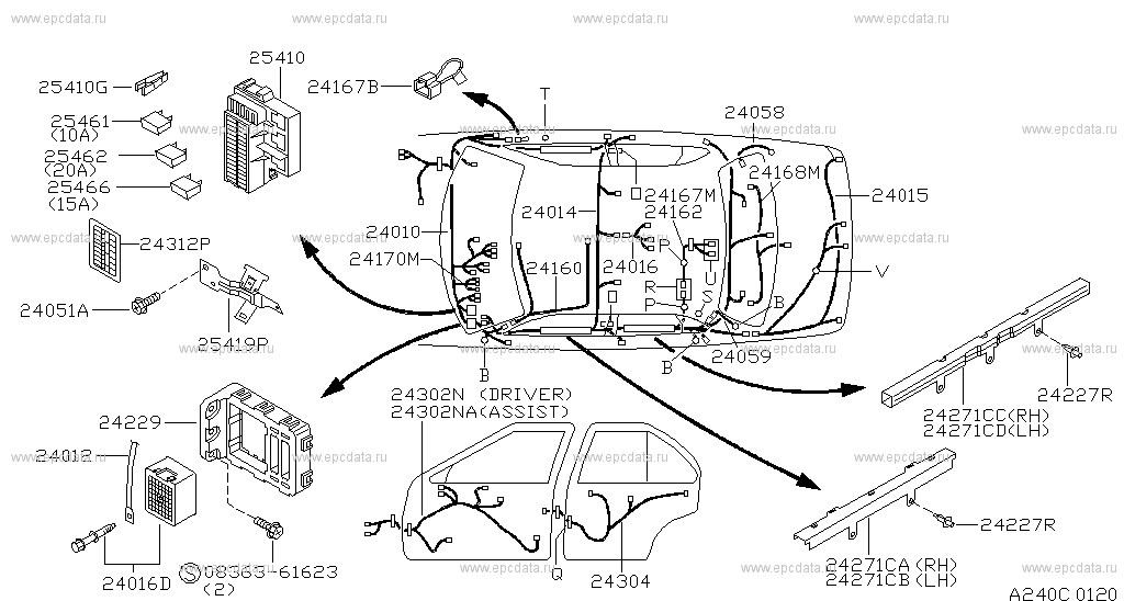 240 - WIRING for Sunny N14 Nissan Sunny - Auto parts N Wiring Diagram on