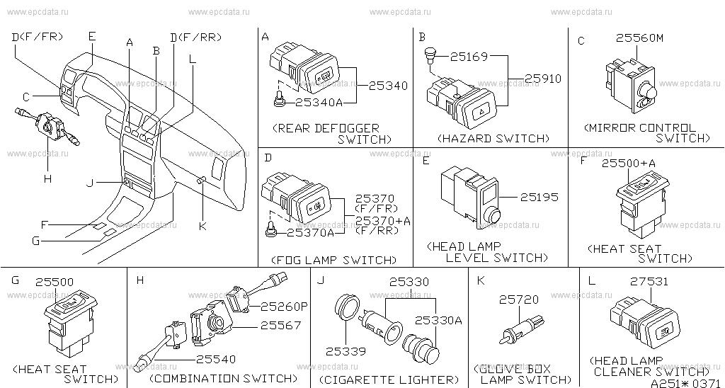 251 - SWITCH for Almera N15 Nissan Almera - Genuine parts Nissan Almera N Wiring Diagram on