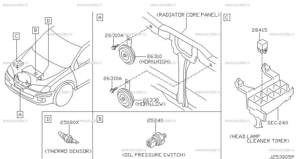 253 - ELECTRICAL UNIT for Almera N16 Nissan Almera - Genuine parts Nissan Almera N Airbag Wiring Diagram on