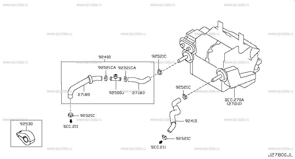 Genuine Nissan Connector-Heater Hose 92500-AR000