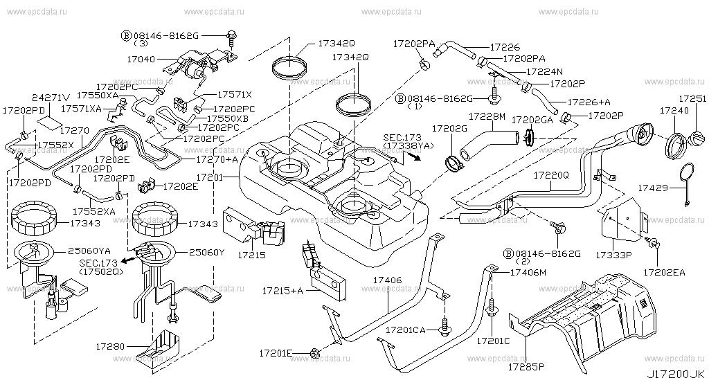 172 - Fuel Tank For X-trail T30 Nissan X-trail
