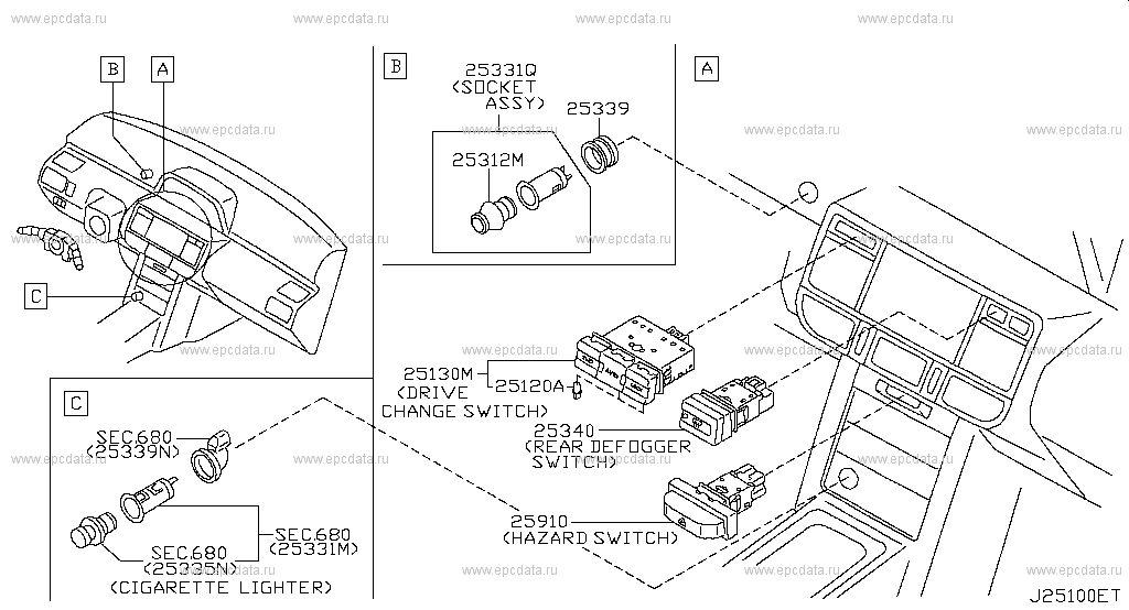 251 - SWITCH for X-Trail T30 Nissan X-Trail - Auto parts Nissan X Trail Rear Wiper Wiring Diagram on