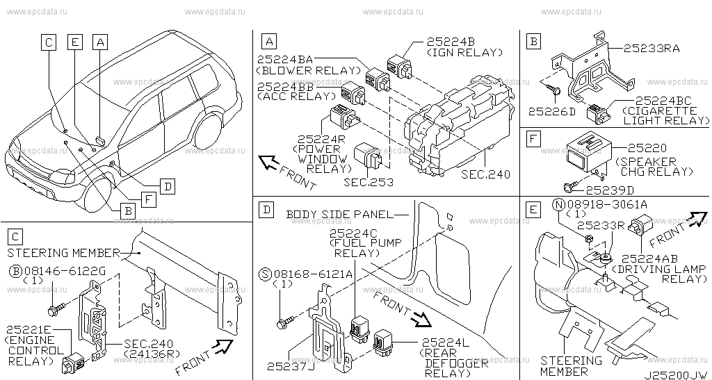 252 - RELAY for X-Trail T30 Nissan X-Trail - Auto parts Nissan X Trail Electric Window Wiring Diagram on