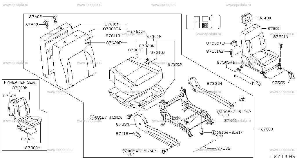 870 - FRONT SEAT for X-Trail T30 Nissan X-Trail - Auto parts Nissan X Trail Heater Wiring Diagram on