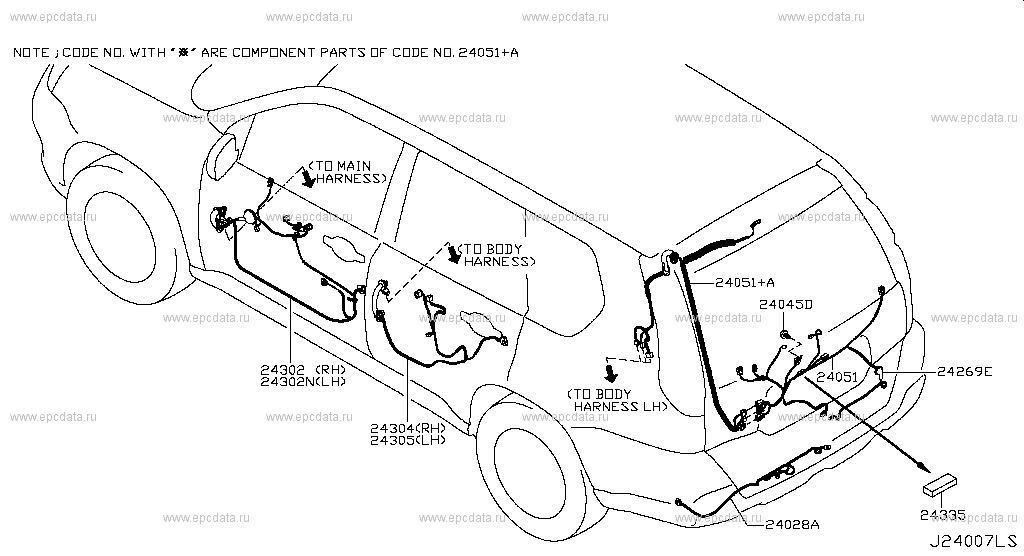 240 - WIRING for X-Trail T31 Nissan X-Trail - Genuine parts Nissan X Trail Aircon Wiring Diagram on