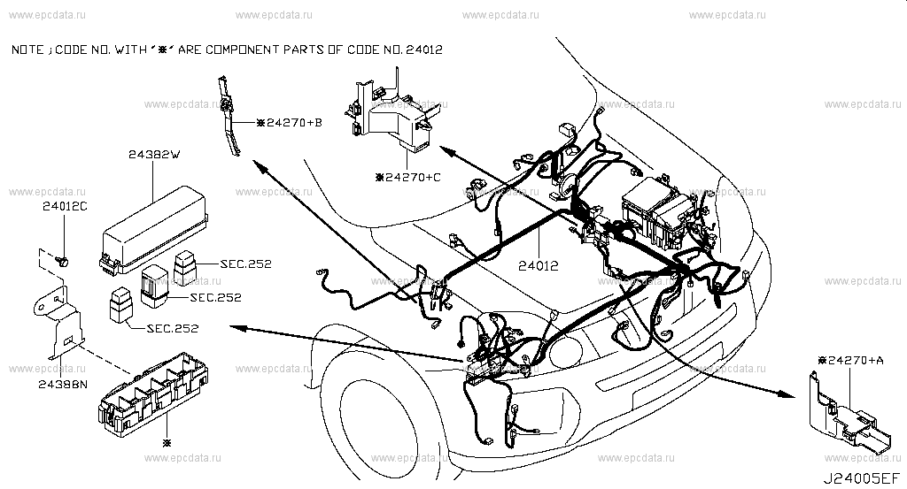 240 - WIRING for X-Trail T31 Nissan X-Trail - Auto parts