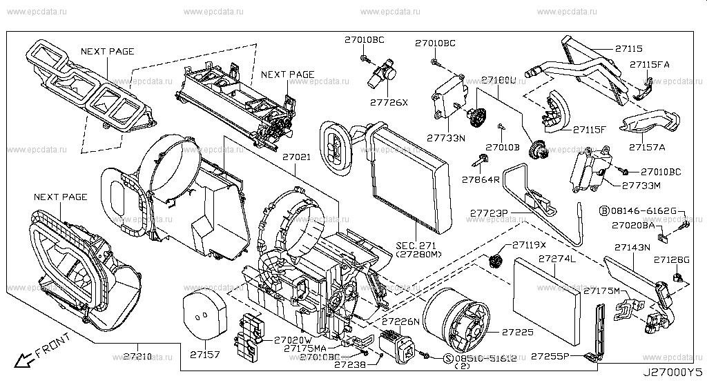 270 - HEATER & BLOWER UNIT for X-Trail T31 Nissan X-Trail ... Nissan X Trail Heater Wiring Diagram on