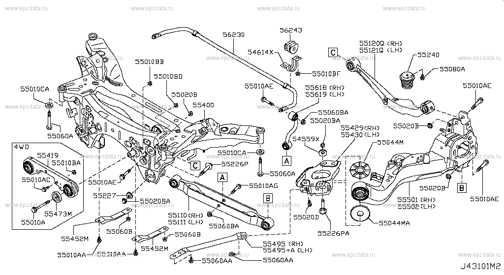431 - REAR SUSPENSION for X-Trail T31 Nissan X-Trail - Auto ... Nissan X Trail T Stereo Wiring Diagram on