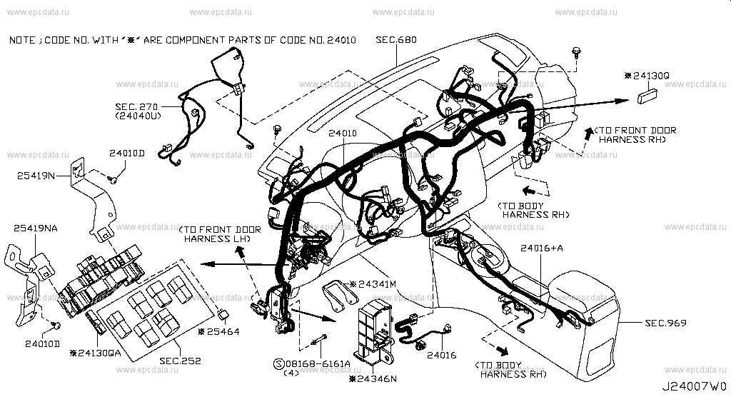 240 - WIRING for X-Trail T31R Nissan X-Trail - Genuine parts