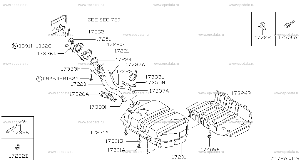 172 fuel tank for terrano wd21 nissan terrano genuine parts 2010 Nissan Altima Fuel Filter Location scheme 172 a01