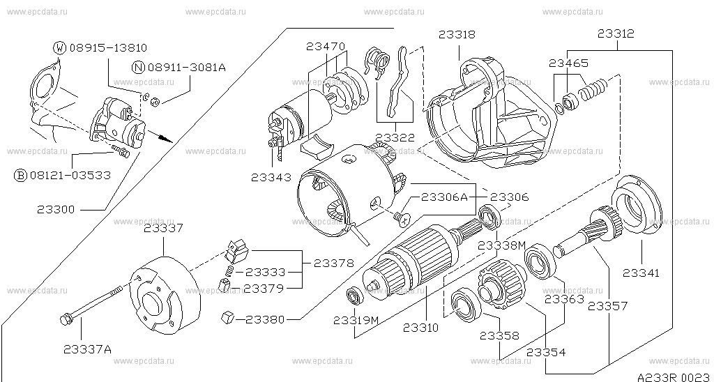 exploded view of starter motor