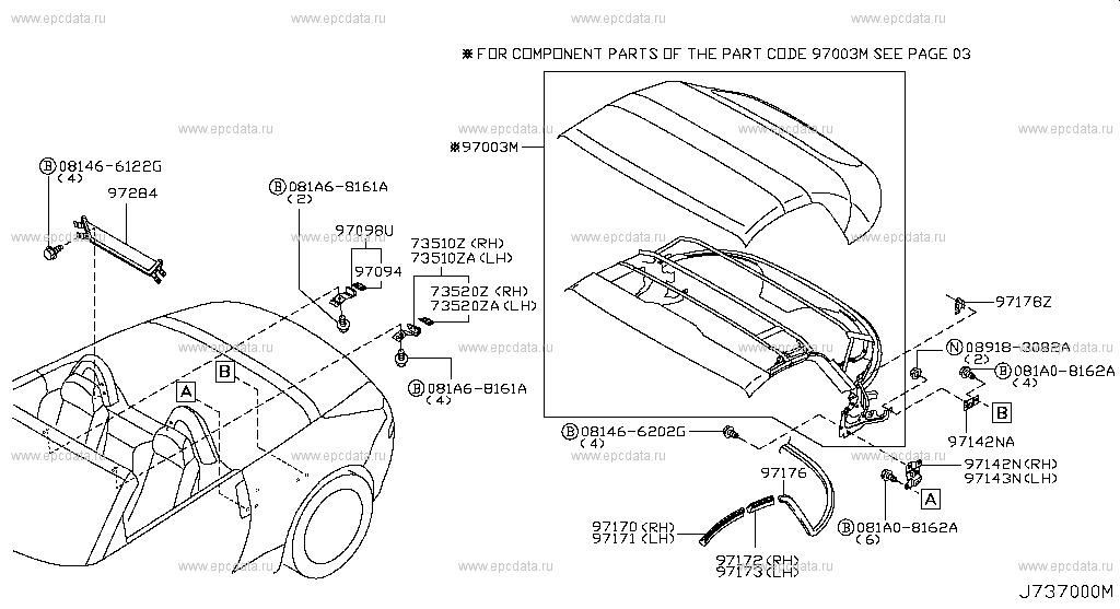 737 open roof parts for 350z z33 nissan 350z auto parts Audi Q5 Parts Diagram