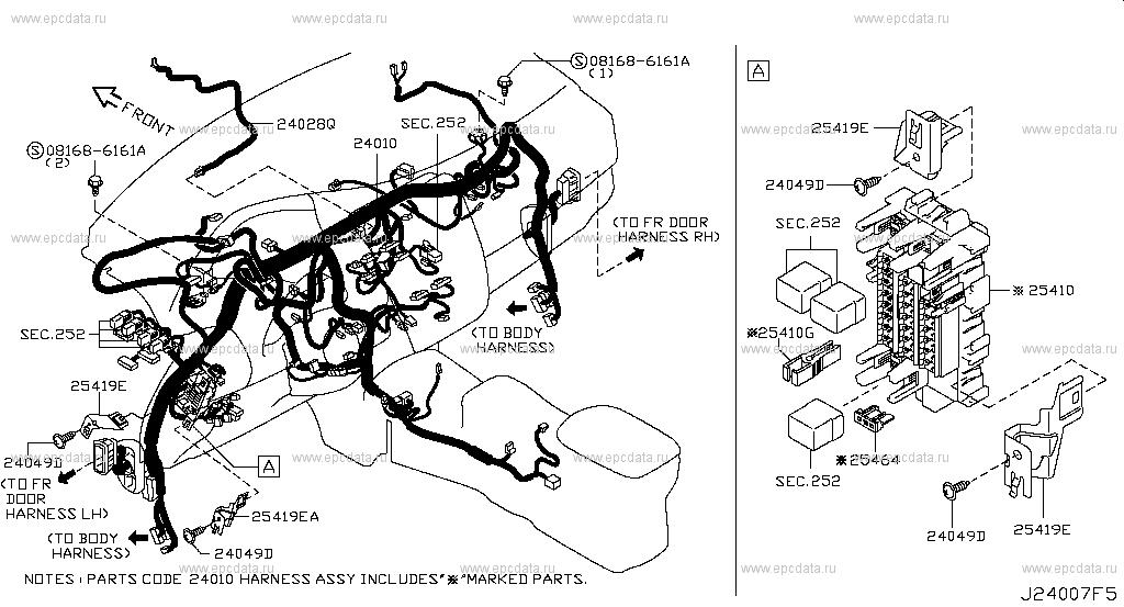 240 - wiring for leaf ze0 nissan leaf - auto parts  nissan parts catalog